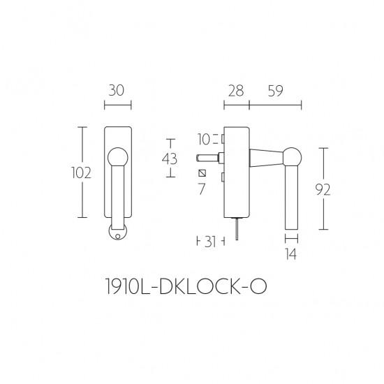 Timeless 1910L-DKLOCK Window Handle