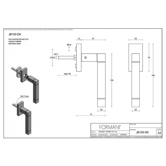 Square JB100-DK Window Handle