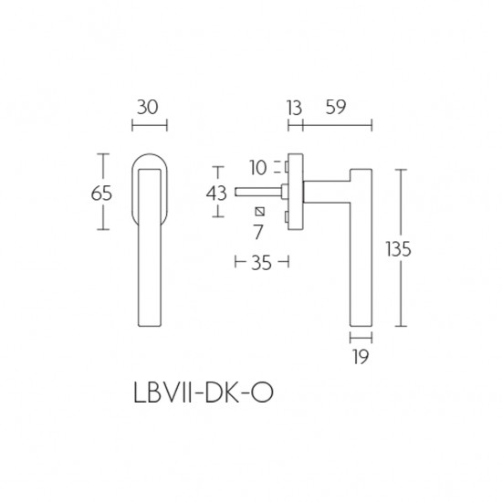 Basics LBVII19-DK-O Window Handle
