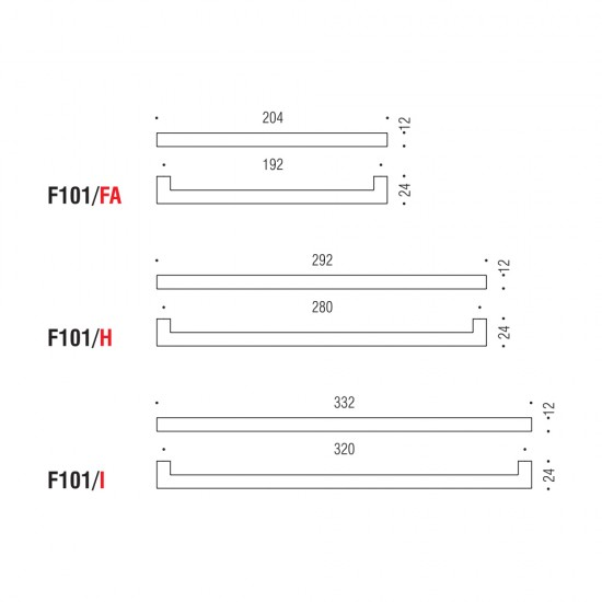 F101/D handle 96mm