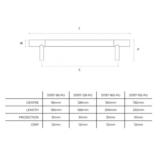 Barrel Solid 192 Cabinet Handle