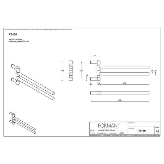 One PB450 Swivel Towel Bar