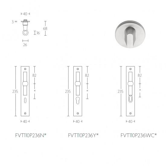Ferrovia FVT110 Door Handle with Backplate