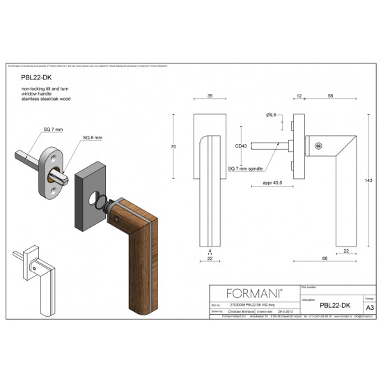 TWO by Piet Boon PBL22-DK Window Handle